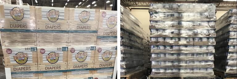 Stacked baby supplies from FEMA